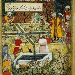 Emperor Babur laying a garden